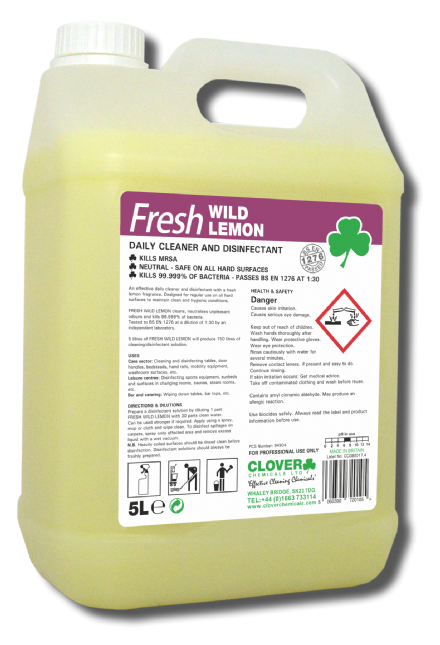 Clover Fresh Wild Lemon - Daily Cleaning Chemical and Disinfectant Kills 99.999% of bacteria